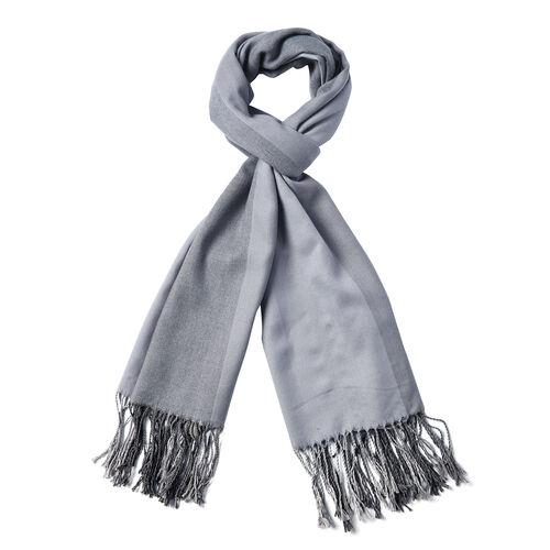 Grey Gradient Cotton-Blend Scarf with Tassels (73x180cm)