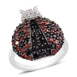GP 2 Ct Boi Ploi Black Spinel and Multi Gemstone Ladybug Ring in Platinum Plated Silver