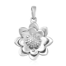 Platinum Overlay Sterling Silver Floral Pendant