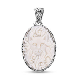 Royal Bali Collection - OX Bone Cat Carved Reversible Pendant in Sterling Silver, Silver wt 6.00 Gms