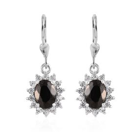 Elite Shungite (Ovl 8x6 mm), Natural Cambodian Zircon Lever Back Earrings in Platinum Overlay Sterli