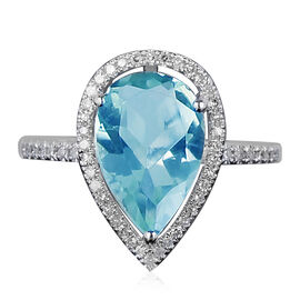 New York Close Out - Sky Blue Topaz (Pear 12x8 mm), Simulated Diamond Ring in Rhodium Overlay Sterli
