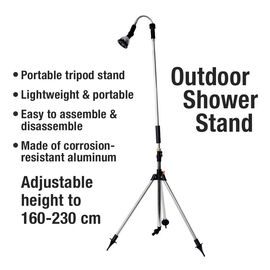Multi Functional Portable Outdoor Shower Stand with Adjustable Shower Head and Height (L: 160-230 Cm