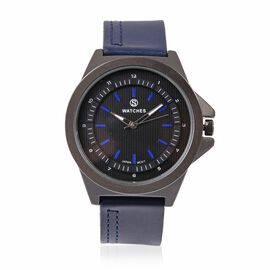 STRADA Japanese Movement Water Resistant Watch with Black Literal and Navy Blue Colour Strap.