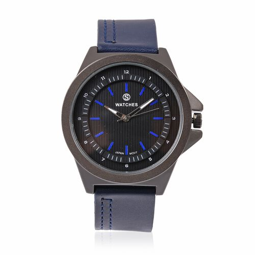STRADA Japanese Movement Water Resistant Watch with Black Dial and Navy Blue Colour Strap.