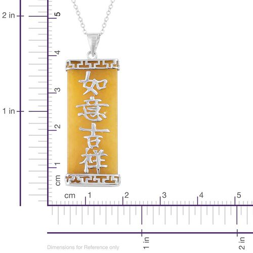 Honey Jade Chinese Character RU YI JI XIANG (Good Luck and Happiness) Pendant with Chain (Size 20) in Rhodium Plated Sterling Silver 17.000 Ct.