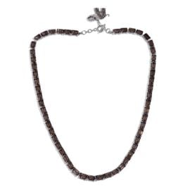Brazilian Smoky Quartz (Oct), Swiss Marcasite Elephant Charm Necklace (Size 18) in Platinum Overlay Sterling Silver 50.750 Ct.