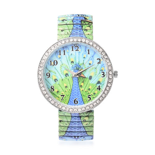 2 Piece Set - STRADA Japanese Movement White Austrian Crystal Studded Peacock Pattern Water Resistant Elastic Strap Watch (Size 6.5-7.5) and Artificial Crystal Filled Black Ink Pen in Green Colour