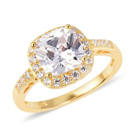 One Time Deal- ELANZA Simulated White Diamond (Cush 8.0 mm) Ring (Size P) in Yellow Gold Overlay Sterling Sil