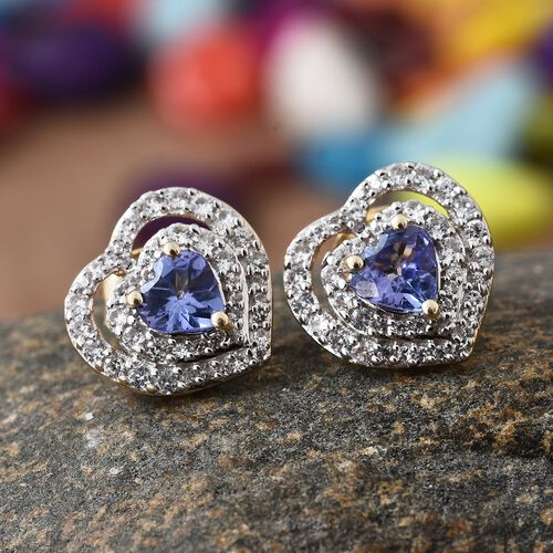 9K Yellow Gold AA Tanzanite (Hrt), Natural Cambodian Zircon Heart Stud Earrings (with Push Back) 1.750 Ct.