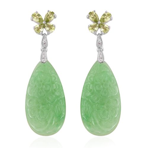 Carved Green Jade, Hebei Peridot and Natural White Cambodian Zircon Earrings (with Push Back) in Rho