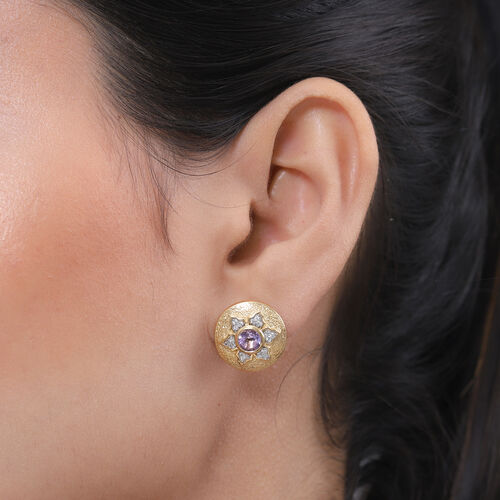 GP Italian Garden Leaf and Flower - Pink Amethyst, Natural Cambodian Zircon and Blue Sapphire Stud Earrings in 14K Gold Overlay Sterling Silver 1.42 Ct.