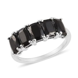 1.75 Ct Shungite 5 Stone Ring in Platinum Plated Sterling Silver