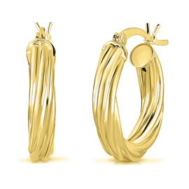 Twisted Hoop Earrings in 14K Gold Plated Sterling Silver