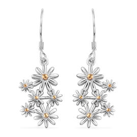 Platinum and Yellow Gold Overlay Sterling Silver Floral Earrings, Silver wt 5.60 Gms