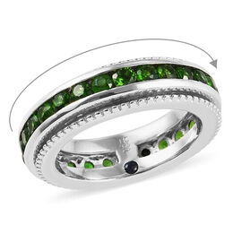 GP - Russian Diopside (Rnd), Blue Sapphire Eternity Band Ring in Platinum Overlay Sterling Silver 2.