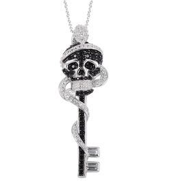 Halloween Collection- White Topaz (Bgt), Boi Ploi Black Spinel Skull Key Pendant With Chain (Size 18