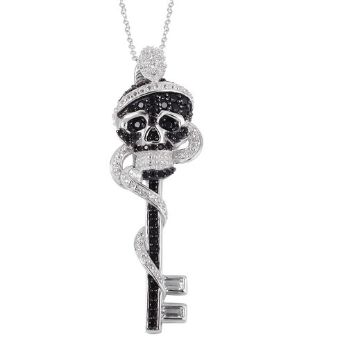 Halloween Collection- White Topaz (Bgt), Boi Ploi Black Spinel Skull Key Pendant With Chain (Size 18) in Rhodium and Black Plating Sterling Silver 2.620 Ct, Silver wt 11.51 Gms.