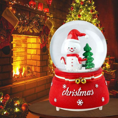 Christmas Theme Snowman and Tree Glass Music Ball with Auto Snowing (15x10cm) - Red