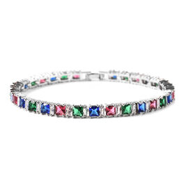 Simulated Diamond and Simulated Multi Colour Gemstone Tennis Bracelet (Size 8) in Silver Tone
