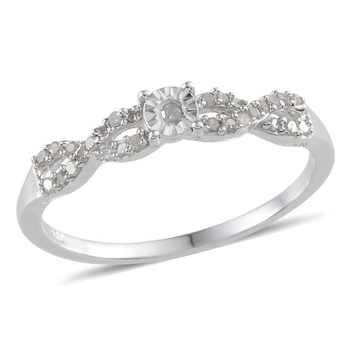 Diamond (Rnd) Ring in Platinum Overlay Sterling Silver 0.200 Ct.