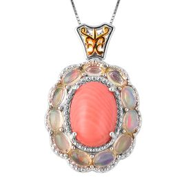 Living Coral (Ovl 14x10 mm), Ethiopian Welo Opal Pendant With Chain in Two Tone Sterling Silver 6.90