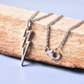 LucyQ Thunder Collection - Rhodium Overlay Sterling Silver Thunderbolt Pendant with Chain