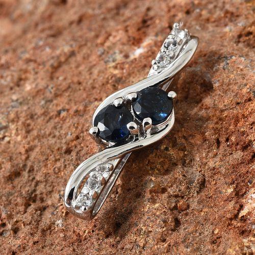 WEBEX- Kanchanaburi Blue Sapphire (0.65 Ct),White Topaz Platinum Overlay Sterling Silver Pendant  0.750  Ct.