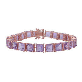 Super Auction-Rose De France Amethyst (Princess Cut) Bracelet (Size 7)  in Rose Gold Overlay Sterlin