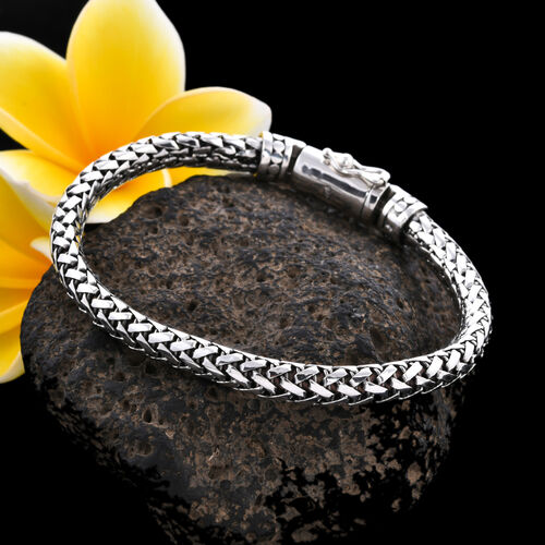 Royal Bali Collection - Sterling Silver Braided Tulang-Naga Bracelet (Size 7.5), Silver wt 30.95 Gms