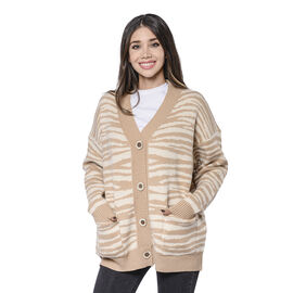 LA MAREY Beige Zebra Pattern Button-Closure Cardigan with Two Pockets
