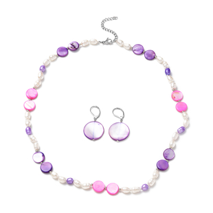 2 Piece Set -  Purple and White Shell Necklace (Size 20 with 2 inch Extender) and Lever Back Earring