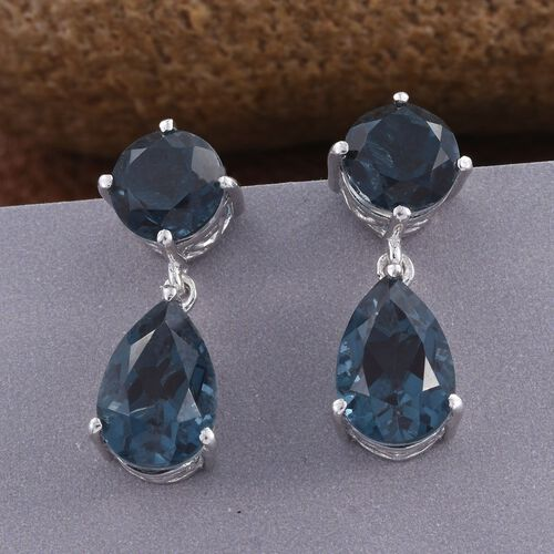 Indicolite Quartz (Pear) Earrings (with Push Back) in Platinum Overlay Sterling Silver 12.250 Ct.
