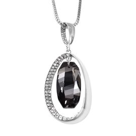 Simulated Grey Spinel and White Austrian Crystal Pendant with Chain (Size 29 with 2.5 inch Extender)