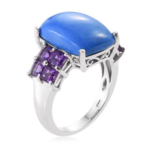 Ceruleite (Cush 7.75 Ct), Amethyst Ring in Platinum Overlay Sterling Silver 9.250 Ct.