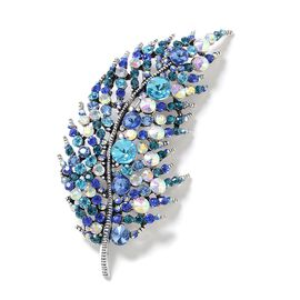 Multi Colour Austrian Crystal (Rnd) Feather Brooch in Silver Tone