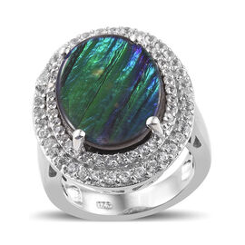 Canadian Ammolite (Ovl 18x13 mm), Natural Cambodian Zircon Ring in Platinum Overlay Sterling Silver 6.750 Ct, Silver wt 7.83 Gms.