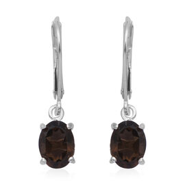 MP Smoky Quartz Lever Back Earrings in Rhodium Overlay Sterling Silver 2.30 Ct.