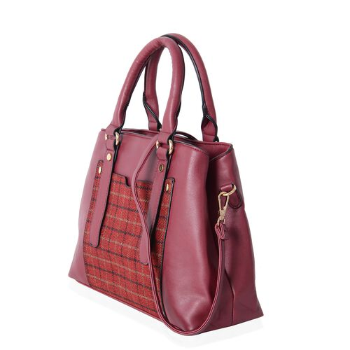 Close Out Deal Red Colour Gingham Pattern Tote Bag with Removable Shoulder Strap (Size 32x24x10 Cm)