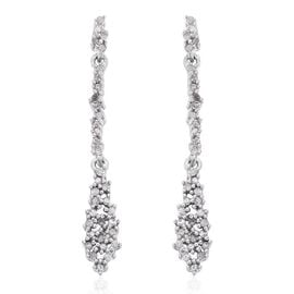 Diamond Dangle Earrings in Platinum Plated Silver 0.33 Ct