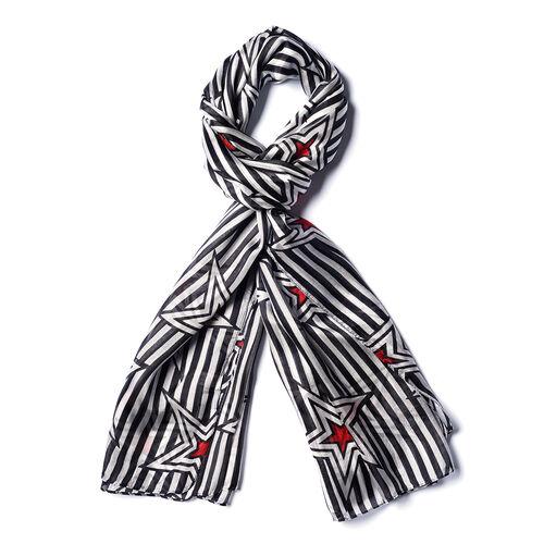 LA MAREY 100% Mulberry Silk Black and White Large Scarf with Stripe Star Print (180x110cm)