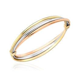 Italian Made 9K Yellow, Rose, White Gold Bangle (Size 8), Gold wt 7.04 Gms.