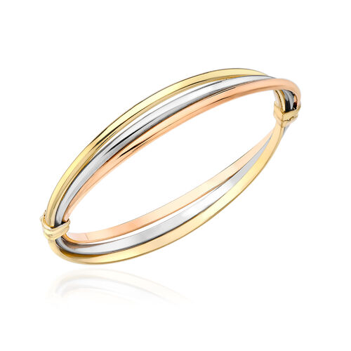 Italian Made 9K Yellow, Rose, White Gold Bangle (Size 7.25), Gold wt 6.68 Gms.