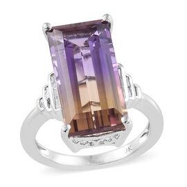 9K White Gold AA Anahi Ametrine (Bgt), Diamond Ring 8.250 Ct.