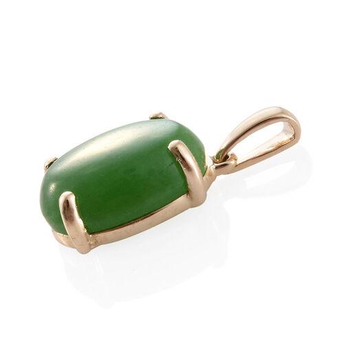 9K Yellow Gold Green Jade (Ovl) Solitaire Pendant 7.000 Ct.