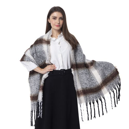 Classic Gingham Pattern Off White and Brown Colour Scarf with Tassels (Size 180x55Cm)