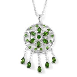 LucyQ 3.13 Ct Russian Diopside Floral Pendant with Chain in Rhodium Plated Silver 10.17 Grams