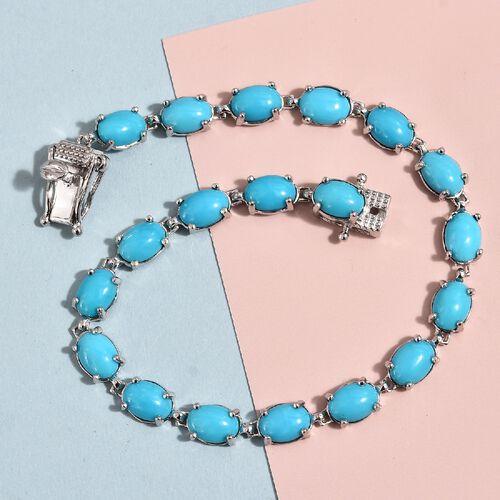 9K White Gold AA Arizona Sleeping Beauty Turquoise (Ovl) Bracelet (Size 7.5) 14.00 Ct, Gold wt 7.96 Gms