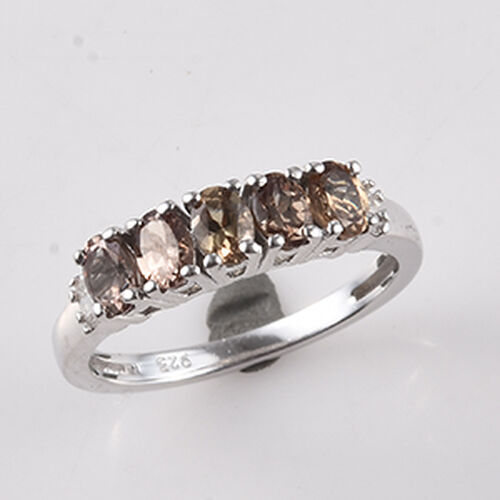 2.01 Ct Colour Change Garnet and Diamond 5 Stone Ring in Platinum Plated Sterling Silver