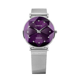 Jowissa -Facet Swiss Water Resistant Purple Dial Bracelet Watch with Star Cut and Stainless Steel Me